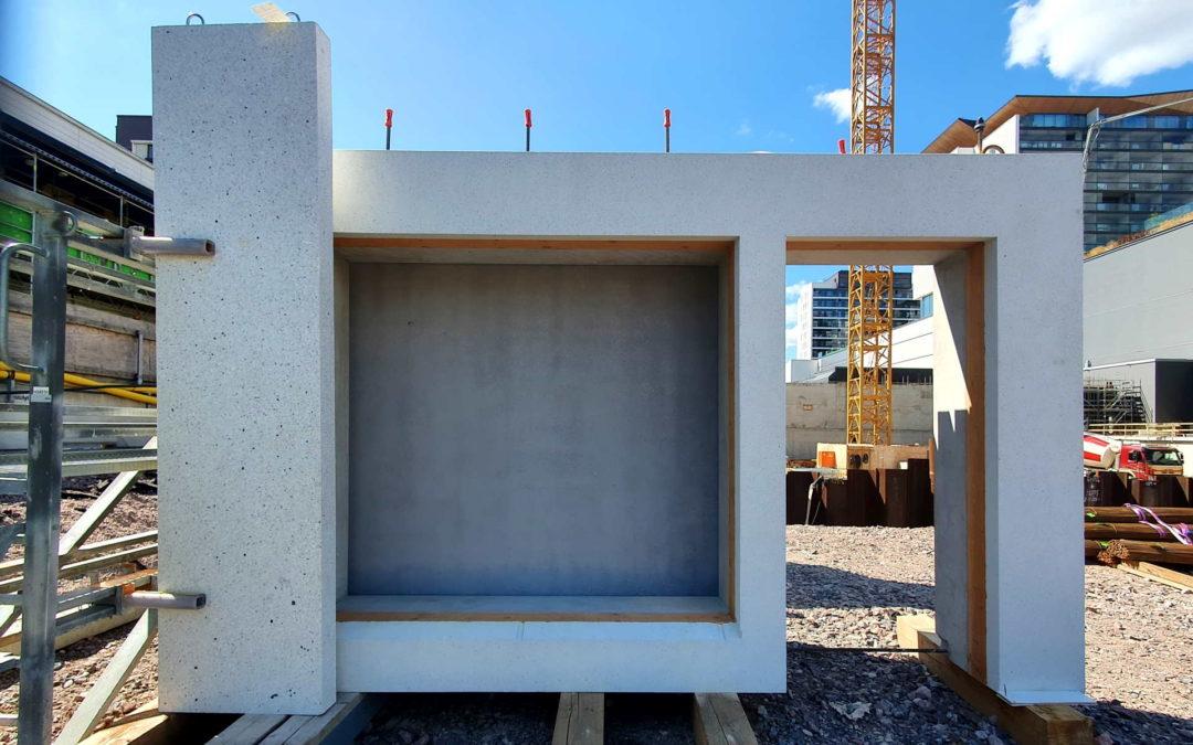 Rakennuksen rungon sekä betonielementtien suunnittelu ja asennus